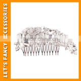 PGHD0375 Bridal wedding flower hair comb clip diamante rhinestone crystal peacock hair clip