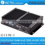 Mini ITX Fanless Industrial PC Desktop PC with 2 COM 4 USB 3.0 Intel Celeron 1037u processor with 4G RAM 64G SSD 640G HDD