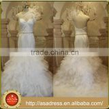 ASAW14 Real Image Mermaid Bridal Gown with Sashes Ruffled Skirt Long Train One Shoulder Alibaba Wedding Dress Custom Made