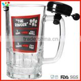 Personalized logo design 550ml patterned glass beer mug with handle & service ringer bell