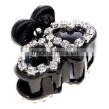 Delicate Cute Two Love Heart Shape Barrette Black Solid Plastic Small MINI Cherry Double Heart Crystal Hair Claws For Women