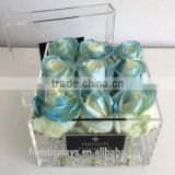 BABY BLUE SATIN ACRYLIC SMALL SQUARE BOX