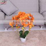 Yiwu hot sale artificial plant orange butterfly orchid flower potted artificial orchid flower