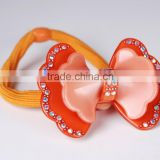Brand hair accessories supplies glitter bow elastic hairband