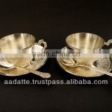 New design silver plated gift item beautiful hand carved high quality cup plates tea set