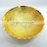Home decoration new design corporate gift item, return gift, brass gold plated leaf style tray
