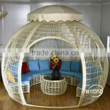 factory price fancy villa home garden gazebo furniture decoration PE rattan sun shade gazebo outdoor furniture gazebo set