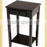 Square wooden console table with drawer and shelf