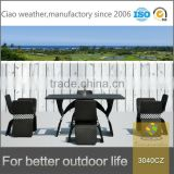 Newly design garden furniture black and white rattan dining table set