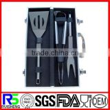 3pcs factory price stainless steel BBQ tool set with aluminium case of assurance trade supplier