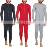 Adult Sexy Men Nightwear Casual Round Neck Long Sleeve Onesie Pajamas Solid Sleep Wear High Quality Adult Men Jumpsuit
