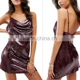 Lady cocktail gowns deep V short new design evening dress Sequins Sling Dress