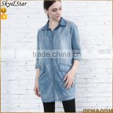 Fashion women washed blue middle sleeve loose soft denim top ladies jeans top design with buttons