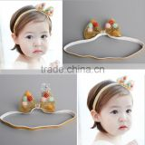 2016 Wholesale new gold or sliver baby or gir's bow headband with pompom