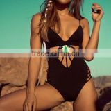 Women Strap Black Hollow One-Piece Bikini Beach SwimWear NP000001
