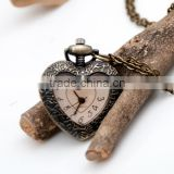 Antique Bronze Heart shape Pocket Watch Long chain Pendant Necklace