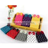 pretty bow tie design cotton women socks