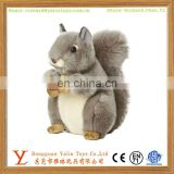 Most popular realistic plush stuffed cute animal toy soft grey squirrel with nut for kids