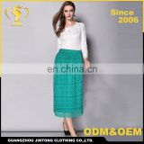 2016 Guangzhou factory new sample women summer lace long skirt rayon
