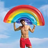Inflatable rainbow float,inflatable water pool floating mattress rainbow color