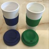 hot sale plastic coffee cup bottle with silicon lid and silicon band