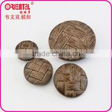 imitation leather plastic coat button in brown