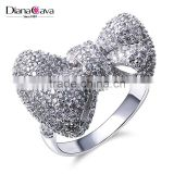 Top Quality Jewelry Dongguan Factory CZ Jewelry Bow Tie Shape Fine Set Women Ring