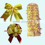 Pull Ribbon Bow for Bottle Neck Decoration/Fabric Pull Ribbon Bow/Golden butterfly bow for wine bottle packing