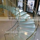 spiral shape glass staircase