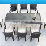 Black outdoor wicker chairs resin wicker synthetic rattan dining set