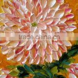Beautiful pink chrysanthemum flower occupy the home handmade classic decoration oil painting in canvas