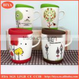 silicone mug covers ceramic cup and mug with silicone lid and bottom with handle mug and decal