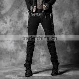 K-174 Punk Rave Mens Personality Elastic Bands Black Ruffle Denim Pant