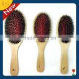 Wooden handdle boar bristle mixes nylon hair brushboar bristle wooden hair brush , soft bristle hair brush , professional wooden