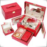 Fancy luxury jewellery storage red jewellery box with mirror for earrings, necklaces and rings, cheap mirror jewellery gift box
