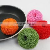 Eco-friendly kitchen cleaning product dish scrubber polyester fiber scourer