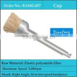 mini RA shank elastic polyamide fiber with aluminum oxide cup shape dental disposable brush
