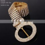 Luxury Women Classy Crystal 10 Row gold Rhinestone Hip Waist Belt Bridal Accessories