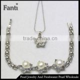 Silver plated pearl costume jewelry sets wholesale