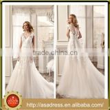 VDN53 Generous Hand Made LAce Appliqued Backless Bridal Gown 2016 Spring Style Cap Sleeve Boho Beach Wedding Dress Vestido