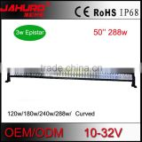 50'' aluminum off road curved led light bar double row 288w led light bar curved with DT connector