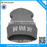 2016 Hot Sale High Qulality Custom Embroidery Knitted Beanie Winter Hat Grey Casual Unisex Cap Wholesale Price
