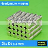 Disc magnet D6x3mm Neodymium small magnet