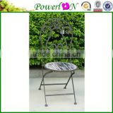 Wrought iron wholesale bistro set antique gray color metal outdoor furniture