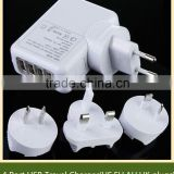 Multi nation EU/US/UK plugs 5 USB port charger switching power adapter 5 port usb socket wall charger