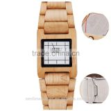 Hot Sale Top Gift Item Black Ebony Wood Watch Square Face Luxury Wristwatch Wooden Watches for Men Gifts