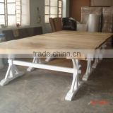 solid wood antique french style dining table,Shabby chic french white wood dining table