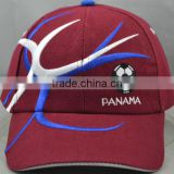 Guangzhou hat factory professional custom 6 panel / 100% cotton / / embroidery logo/deep red baseball cap