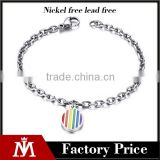 New Design Unisex Stainless Steel Silver Chain Bangle Round Charm Bracelet Rainbow Gay Jewelry