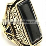 YCR1550 Black Antiquated Stone With White Gold Brass New Ring